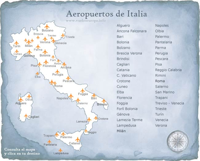 Aeropuertos De Italia Mapa.Mapa De Los Aeropuertos En Italia Respuestas