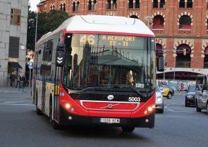 Autobús de la línea 46 hacia el Aeropuerto de Barcelona.