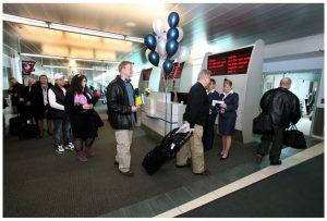 Passengers board the flight.