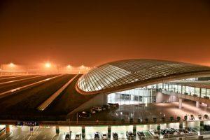 Beijing International Airport at night