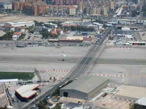 Takeoff at the Gibraltar airport